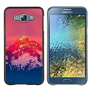 KLONGSHOP // Cubierta de piel con cierre a presión Shell trasero duro de goma Protección Caso - Montaña Nevada Sunset - Samsung Galaxy E7 E700 //