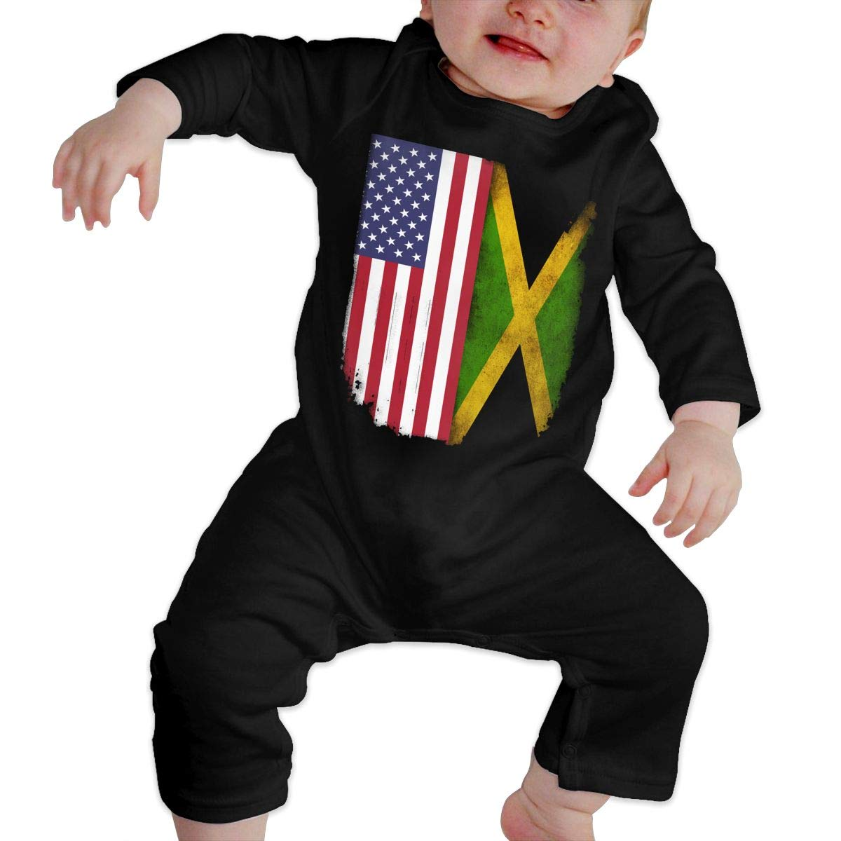 Soft Jamaican American Flag Crawler U99oi-9 Long Sleeve Cotton Rompers for Baby Boys and Girls