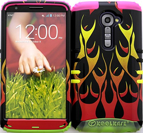 Wireless Fones TM High Impact Hybrid Cover Case for LG G2 VS980 Verizon Red Flames on 2 Tone 2