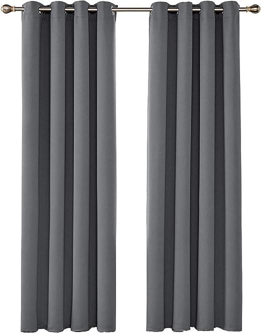 Umi. by Amazon - Rideaux Occultants Gris Clair Isolants Thermiques  Reducteur de Bruit a Oeillets Rideau Salon Chambre Bebe 2 Pièces 140x245cm