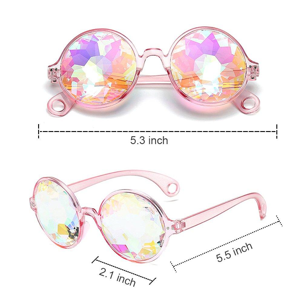 Kaleidoscope Glasses, Party Glasses Music Festival Glasses Rainbow Prism Sunglasses Goggles Crystal Lenses for LED Light Show, 4PCS