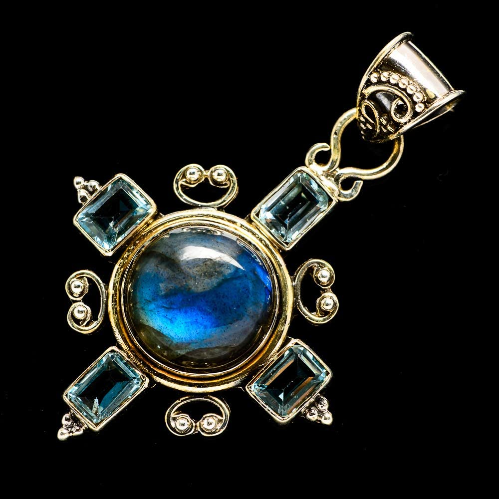 925 Sterling Silver Bohemian - Handmade Jewelry Blue Topaz Pendant 2 1//4 Vintage PD701169 Ana Silver Co Labradorite