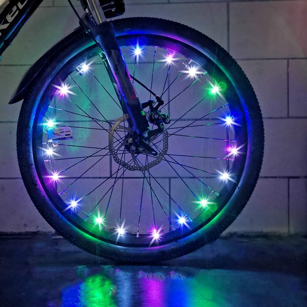CDYKLCB Bike Wheel Lights, LED Spoke Light Super Bright Waterproof Cycling Bicycle Light Decoration Ultra Bright from All Angles Tire Strip Light for Kids Adults (1 Tire Pack)