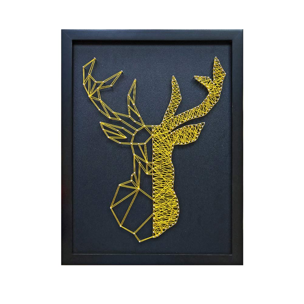 Home Decoration DIY Thread Winding Three-Dimensional Gold Deer Decorative Painting, Mural DIY Material Package Decompression Desktop Decoration Decorations, Parent-Child Manual Interactive Game by Home Decoration (Image #1)