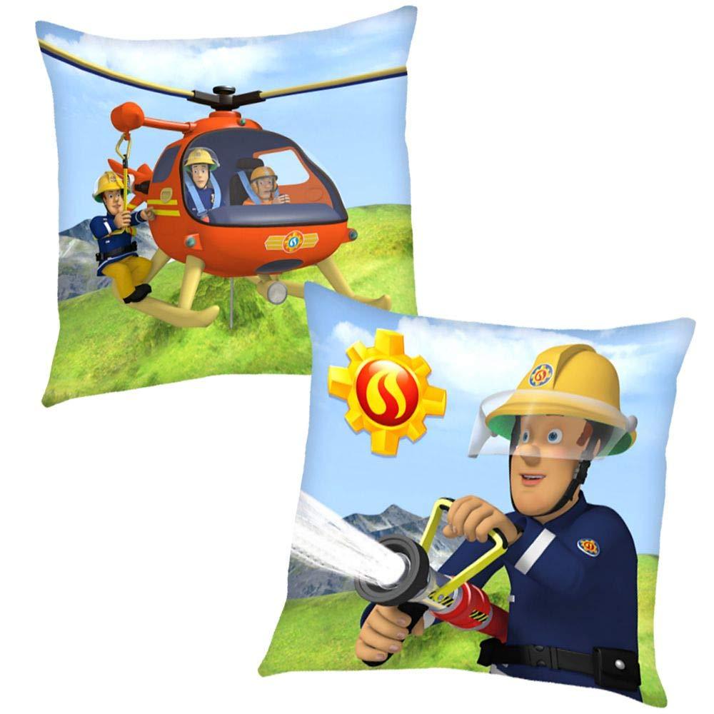 Kinder Kissen 40 x 40 cm Dekokissen Feuerwehrmann Sam Helikopter