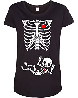 282aa228b2d64 Amazon.com: Halloween T-Shirt Pregnant Skeleton Baby: Clothing