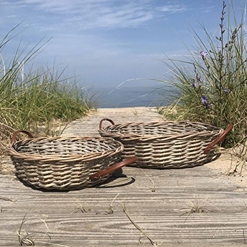 Cape Cod Wicker (The Cape Cod Wicker Baskets, Set of 2 Rounds, Faux Leather Side Handles, Storage and Display, Distressed White Willow, 14 and 17 Inches Diameter, By Whole House Worlds)