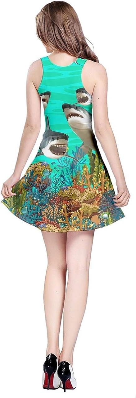 Colorful Sea Animals Dolphin Turtles Fish Shark Penguin Floral Alternative Dress