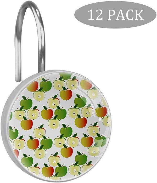 Cute Fruit Apple Green Orange Pattern Shower Curtain Hooks Rings Set of 12 Resin Shower Hooks
