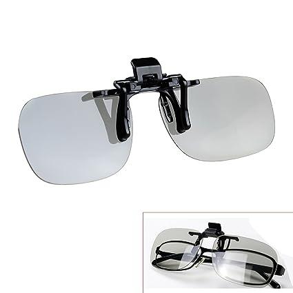 Tera Gafas 3D Clip Lentes 3D Polarizadas Pasivas para Gafas Normales de Soporte Universal