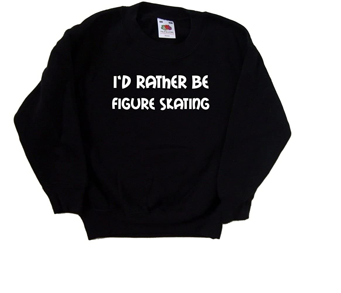 Id Rather Be Figure Skating Black Kids Sweatshirt