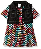 Youngland Big Girls' 2 Pc Set, Striped Floral Knit Skater Dress with Vest, Multi, 10