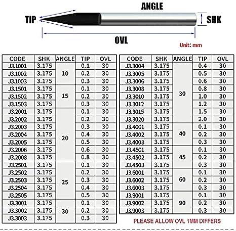 WNJ-Tool 10pcs Gr/ö/ße : J3 4001 Pack 3.175mm CNC-Fr/äser-Bit Grad 45 60 90 PCB-Stich-Spitzen Schaftfr/äser Carbide 0.1-0.3mm-Fr/äser-Maschine Accessorie