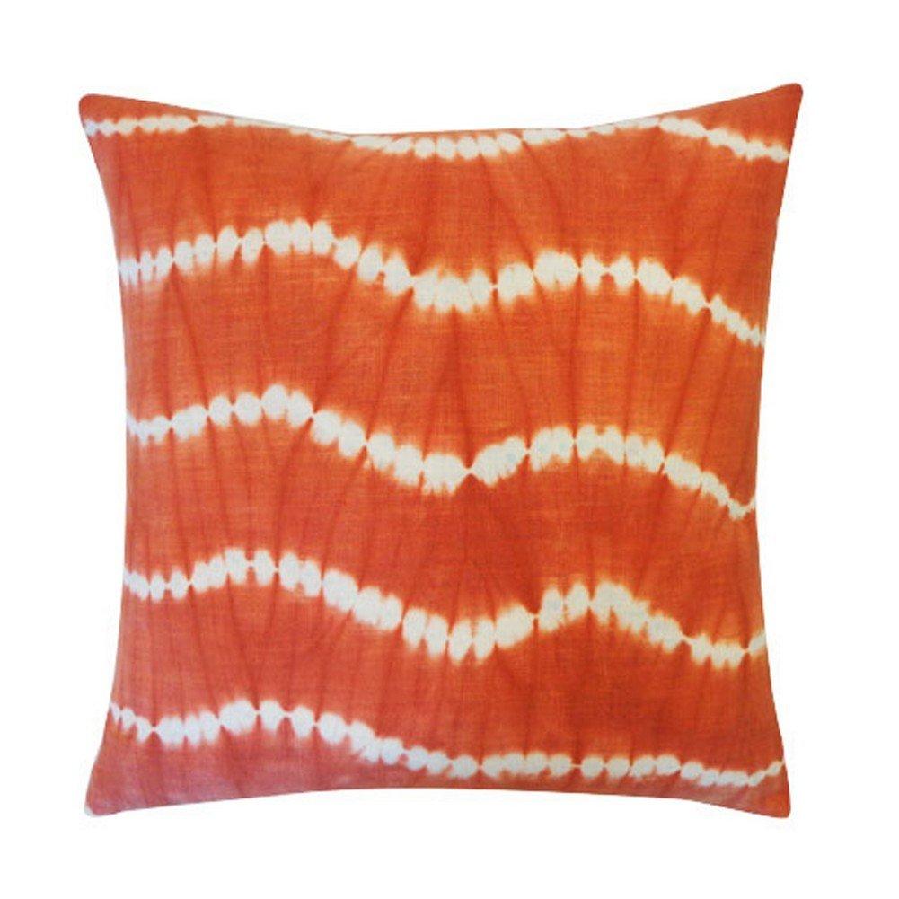 Vivai Home Orange Tie Dye Pattern 18x 18 Square Cotton Feather Pillow
