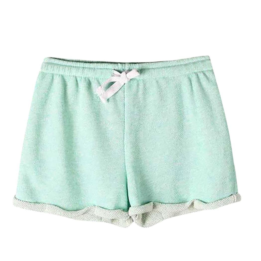 Summer Clearanc!Women's Solid Shorts Causal Sexy Home Fitness Short Pants by-NEWONESUN Green