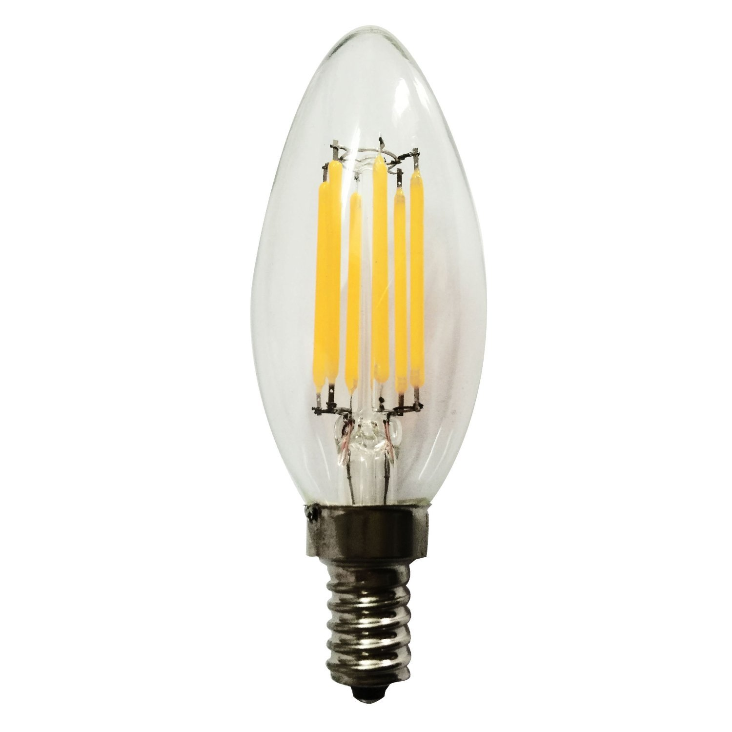 Vstar C35 LED Candelabra Filament Bulb 6w Candle Light Lamp With E12 Base,Warm White 2700k,600lm,120V,Dimmable and Equivalent to 50w Incandescent,Pack of 6