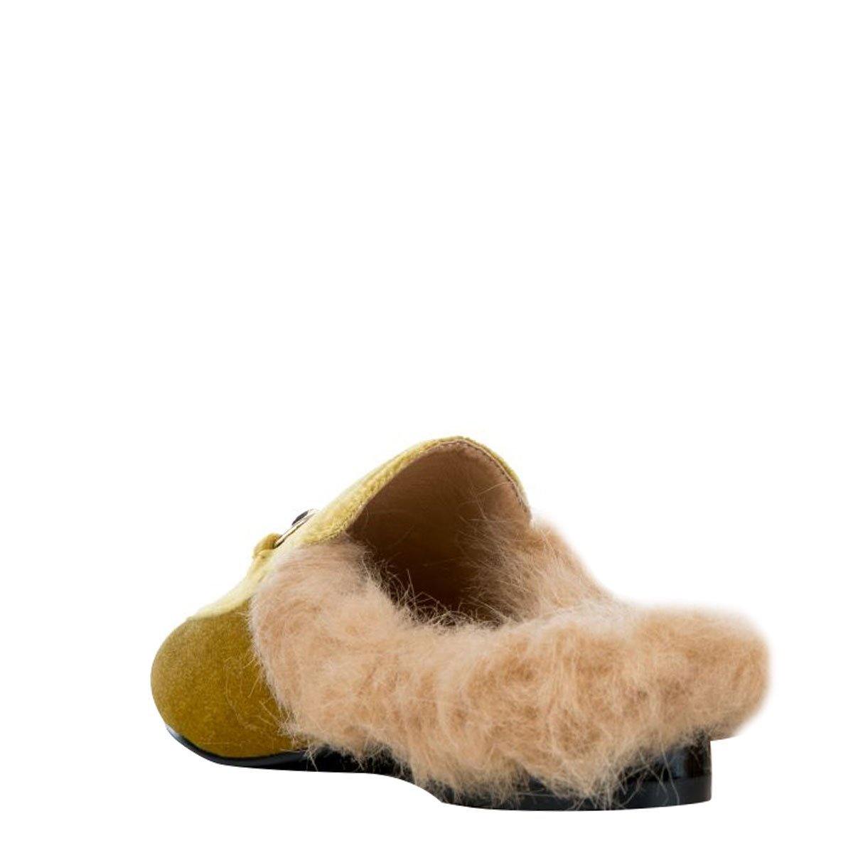 111737cc2453c Amazon.com | CAPE ROBBIN Womens Round Toe Faux Fur Lined Horsebit Slip On Loafer  Mules Flat Shoes Slipper 6.5 Olive | Slippers