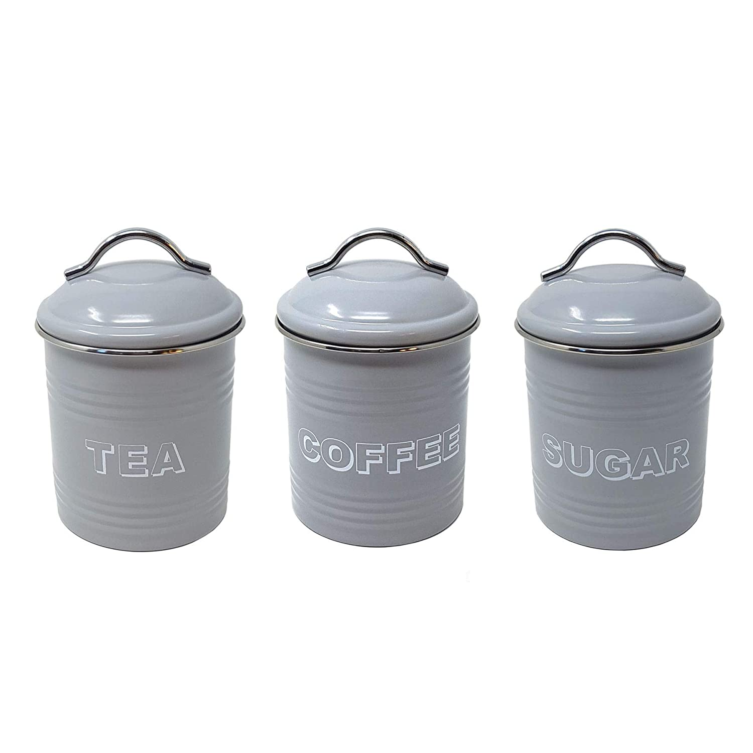 Amazon com 3 x grey silver modern tea coffee sugar metal storage canisters jar everything else
