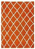 Diagona Designs Era Collection Contemporary Moroccan Trellis Design Shag Area Rug, Orange/Ivory