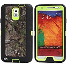 MOONCASE Galaxy Note 3 Case, [Realtree Camo Series] 3 Layers Heavy Duty Defender Hybrid Soft TPU +PC Bumper Triple Shockproof Drop Resistance Protective Case Cover for Samsung Galaxy Note 3 N9000 -Green Tree