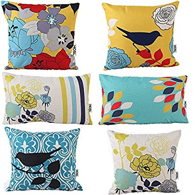 "HOSL® Cotton and Linen Decorative Pillow Cover Case Pack of 6 (4 Square About 18"" X 18""; 2 Rectangle About 11.5"" x 19.5"")?Bird And Flower)"