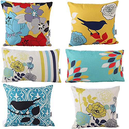 HOSL-Decorative-Pillow-Cover-Case-Pack-of-6-4-Square-About-18-X-18-2-Rectangle-About-115-x-195Bird-And-Flower