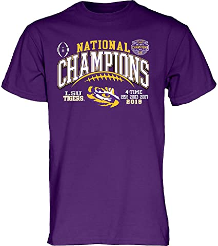 Elite Fan Shop LSU Tigers National Championship Champs Hat 2019-2020 Purple Arch