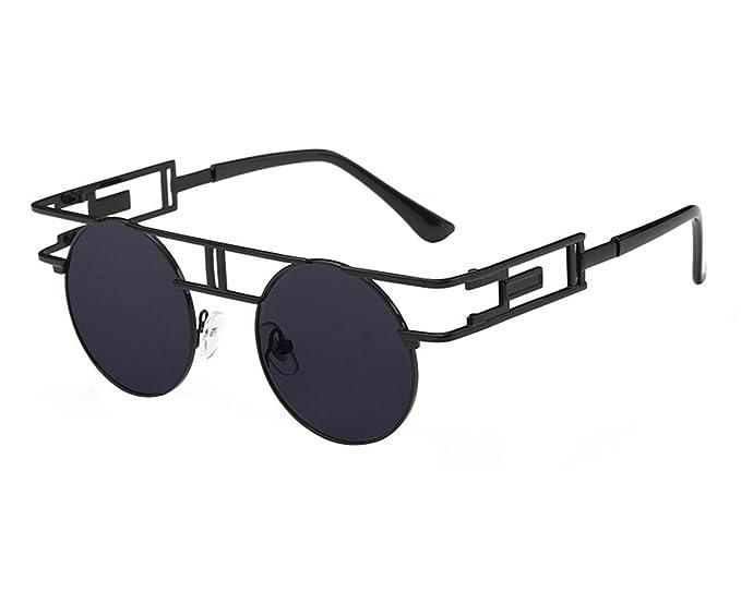 4f9ae95a909 VeBrellen Men Gothic Sunglasses Reflective Flash Mirror Lens Vintage Women  Steampunk Round Sunglasses (Black Frame