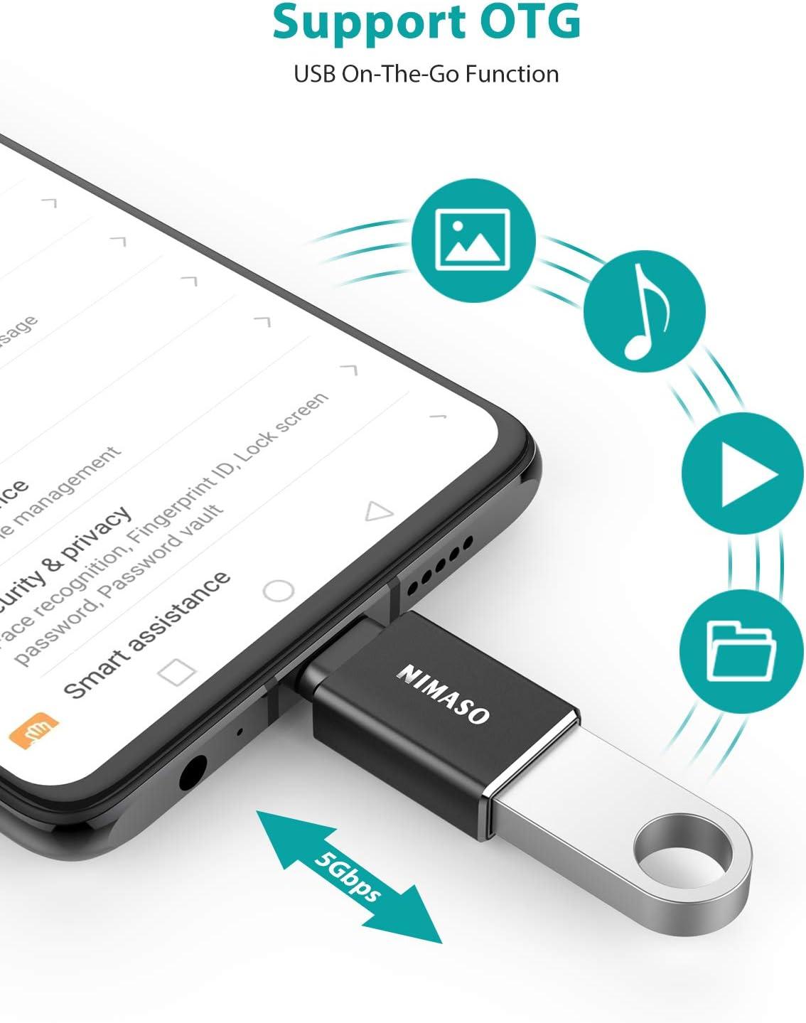 4Pack, Noir NIMASO Adaptateur USB C vers USB A(OTG) USB C M/âle vers USB A Femelle 3.0 Transmission de Donn/ées Rapide Compatible avec MacBook Pro 2018//2017,Samsung Galaxy S9//S9+,Huawei P20//20 Pro etc