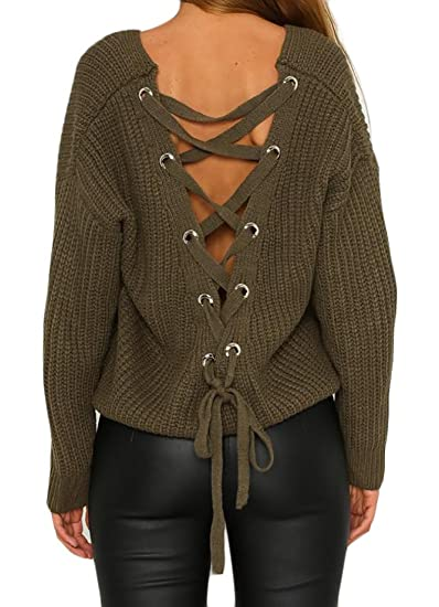 Cruiize Women s Long Sleeve Back Lace Up V Neck Knit Sweater Pullover Army  Green XS 303e99fe8