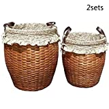 TSAR003 Rattan Pastoral Style Laundry Basket With Handle With Lining Dirty Clothes Toy Storage Basket 2 Sets (L + S)