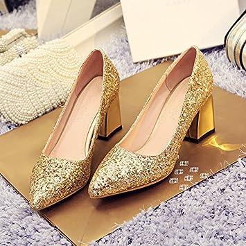 e61ecb5cc67 KPHY A L Été Des Paillettes Des Chaussures Petite Bouche Seul Talon Épais 7  Cm