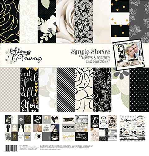 Simple Stories Always & Forever Collection (Wedding 12x12 Scrapbook Paper)