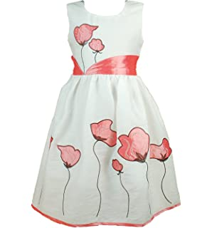 Cinda Girls Cotton Flower Dress White and Grapefruit 5-6 Years