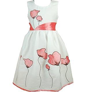 Cinda Girls Cotton Flower Dress White and Grapefruit 5-6 Years