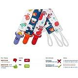 مجموعة من 3 قطع لسلسلة حمل اللهاية بمشبك يونيفيرسال بينكي من أجل الأولاد والبنات تناسب جميع ألعاب التسنين أو مجموعة هدايا ملطفة.