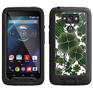 Skin Decal for LifeProof Motorola Droid Turbo Case - Lucky Clovers on White