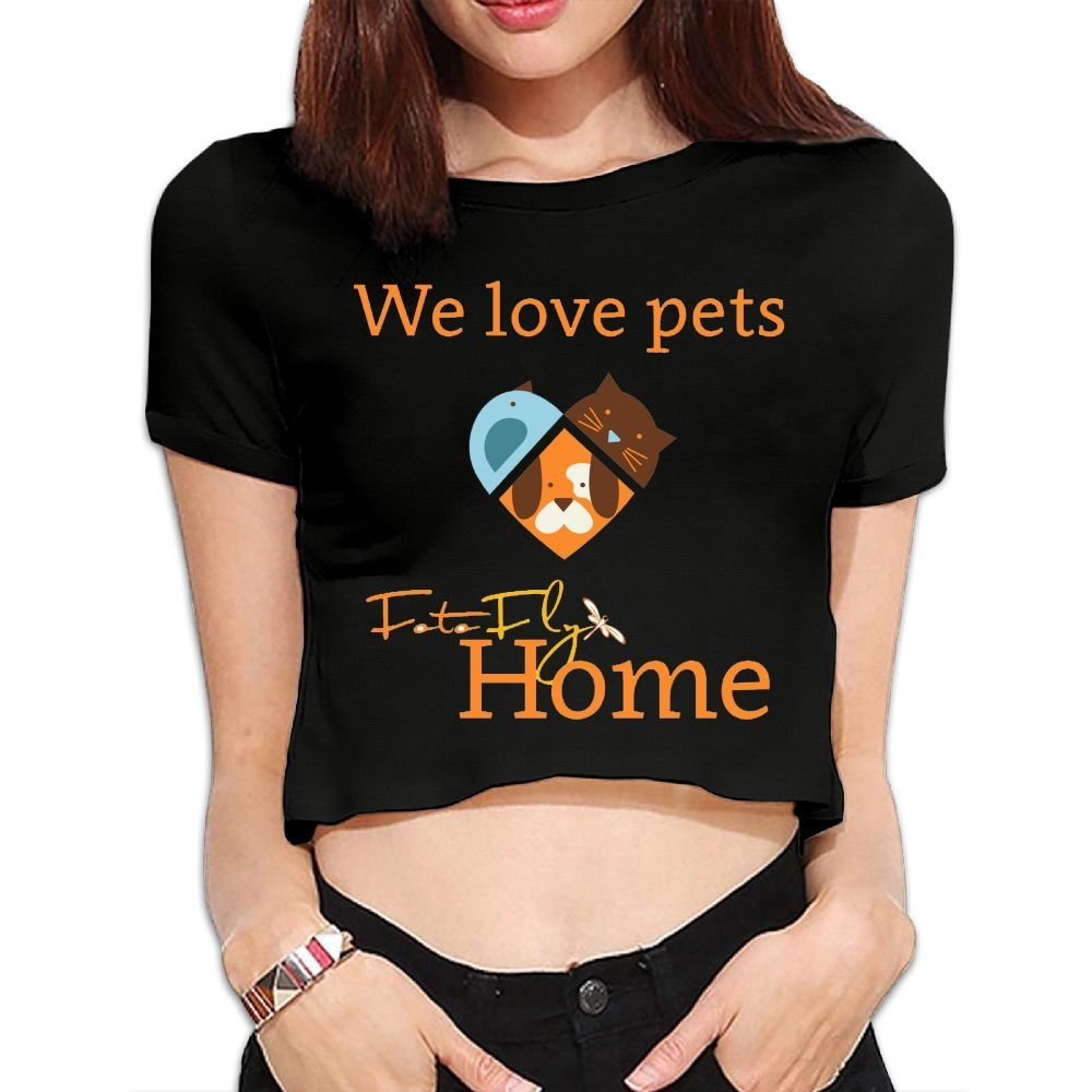 Ghhpws We Loves Pets Summer Women Sexy Revealed Navel Short Sleeve Bare Midriff Crop Top T Shirt Black
