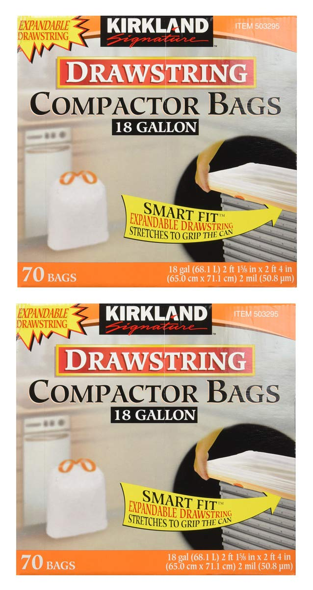 Kirkland Signature gbfVA Compactor Bags, 18 Gallon, Smart Fit Gripping Drawstring, 2 Pack (70 Count)