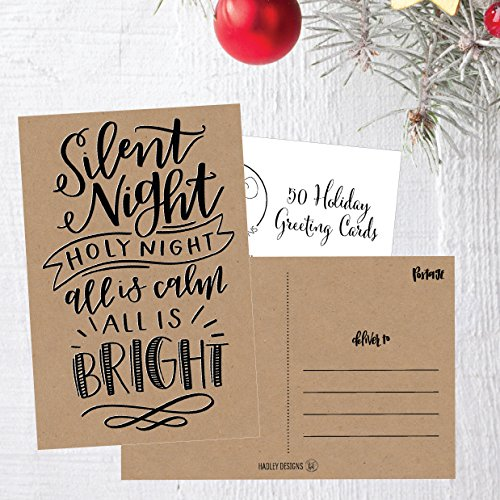 50 Kraft Holiday Greeting Cards, Cute Fancy Blank Winter Christmas Postcard Set, Bulk Pack of Premium Seasons Greetings Note, Happy New Years for Kids, Business Office or Church Thank You Notes Photo #6