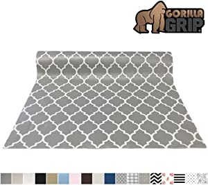 Gorilla Grip Original Smooth Top Slip-Resistant Drawer and Shelf Liner, Non Adhesive Roll, 17.5 Inch x 10 FT, Durable Kitchen Cabinet Shelves Liners for Kitchens Drawers, Quatrefoil White Gray