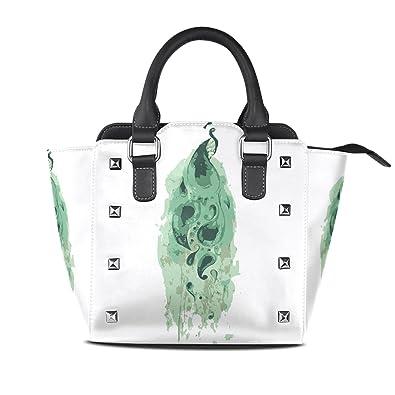 Amazon.com: Para mujer pintura de pavo real bolsos de piel ...