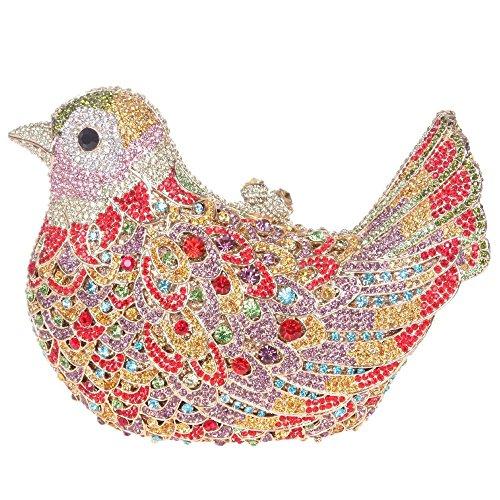 Damen Clutch Abendtasche Handtasche Geldbörse Glitzertasche Strass Kristall Vogel Tasche mit wechselbare Trageketten von Santimon(15 Kolorit) Violett