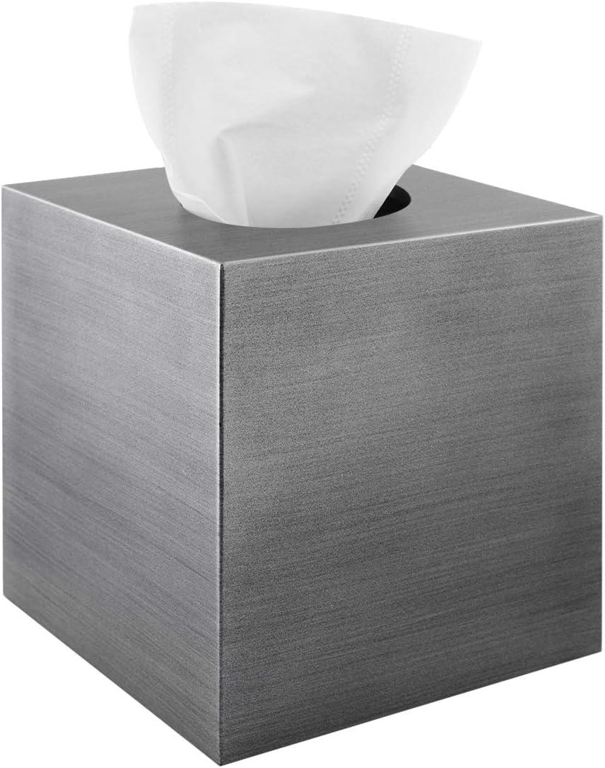 Luxspire Resin Tissue Box Cover, Square Facial Tissue Toilet Paper Holder Napkin Dispenser for Vanity Office Bedroom Farmhouse Bathroom Accessories Bathroom Decor, Cube Kleenex Holder - Silver Gray