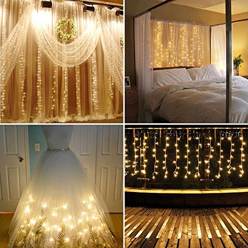 Neretva Led Light Window Curtain Icicle Lights 304led Linkable Warm White Christmas Curtain String Fairy Wedding Lights for Home, Garden, Kitchen, Bedroom, Livingroom, Party, Window - Lights Icicle Indoor