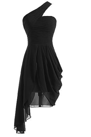 Mirandas Bridal Womens One Shoulder Plated Chiffon Short Bridesmaid Dress Black US2