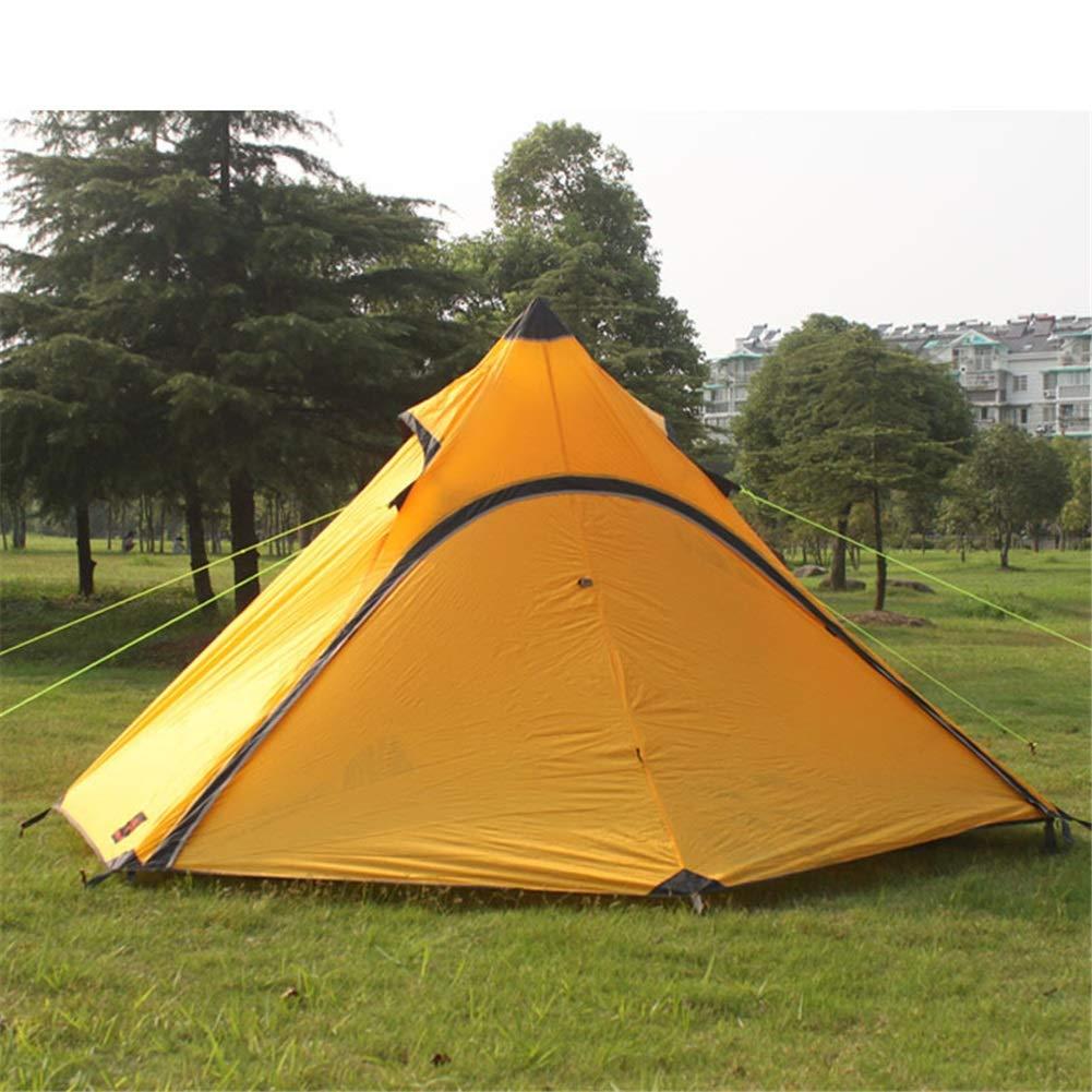 Zelt, Ultraleicht Camping Pyramide Nylon Silikon 4 Jahreszeiten Zelte 2 Person Wandern Reise Wasserdicht Regen Zelt (Farbe : Gelb, Größe : 290X230x150cm)
