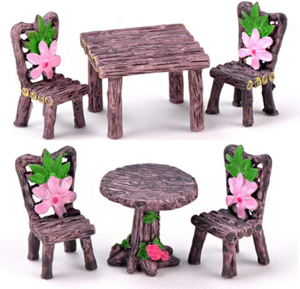 6 Pieces Miniature Table and Chairs Set, Fairy Garden Furniture Ornaments Kit for Dollhouse Accessories Home Micro Landscape Decoration (6 Pcs Table and Chairs Set)