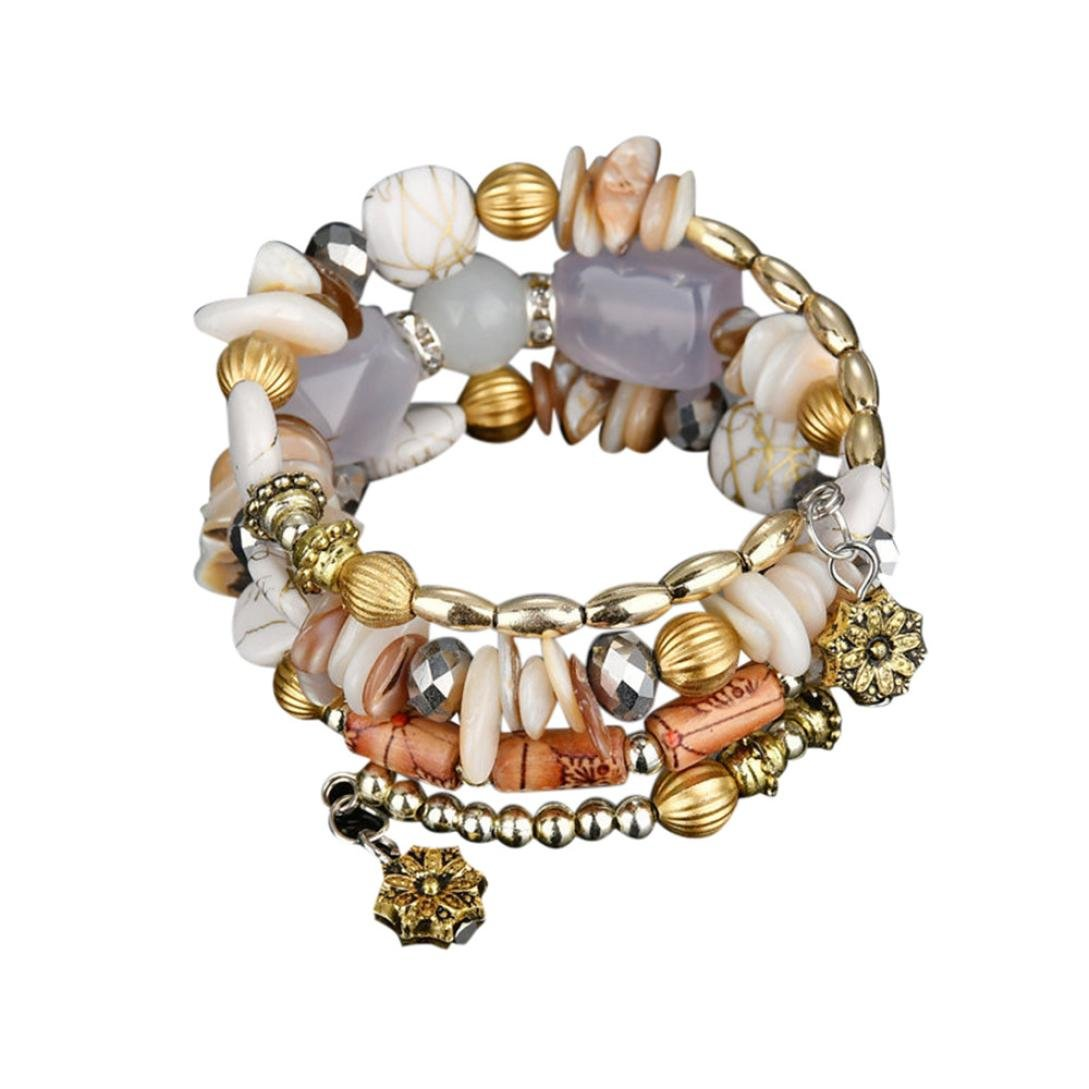 HIRIRI Hot Sale New Fashion Women Beautiful Exotic National Flavor Multilayer Colorful Stone Beads Bracelet Bangle (White)