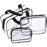JTDEAL 3Pcs Sac de Voyage en PVC Transparent Étanche Multifonction Sacs Cosmetiques/Trousse de Toilette/Trousses à Maquillage pour Voyage (Noir)